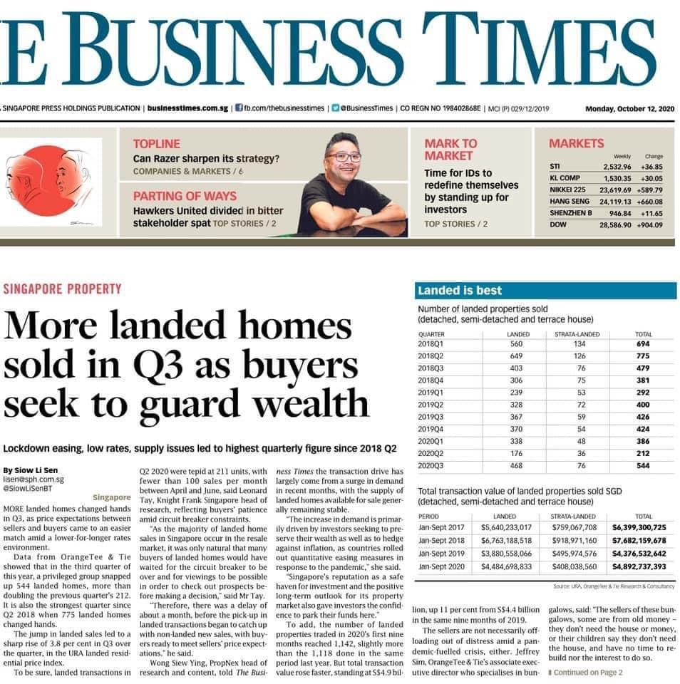 More landed Homes sold in Q3 as buyers seek to guard Wealth