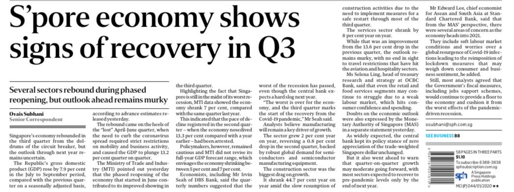"""Singapore are already showing """"sign of recovery in Q3"""