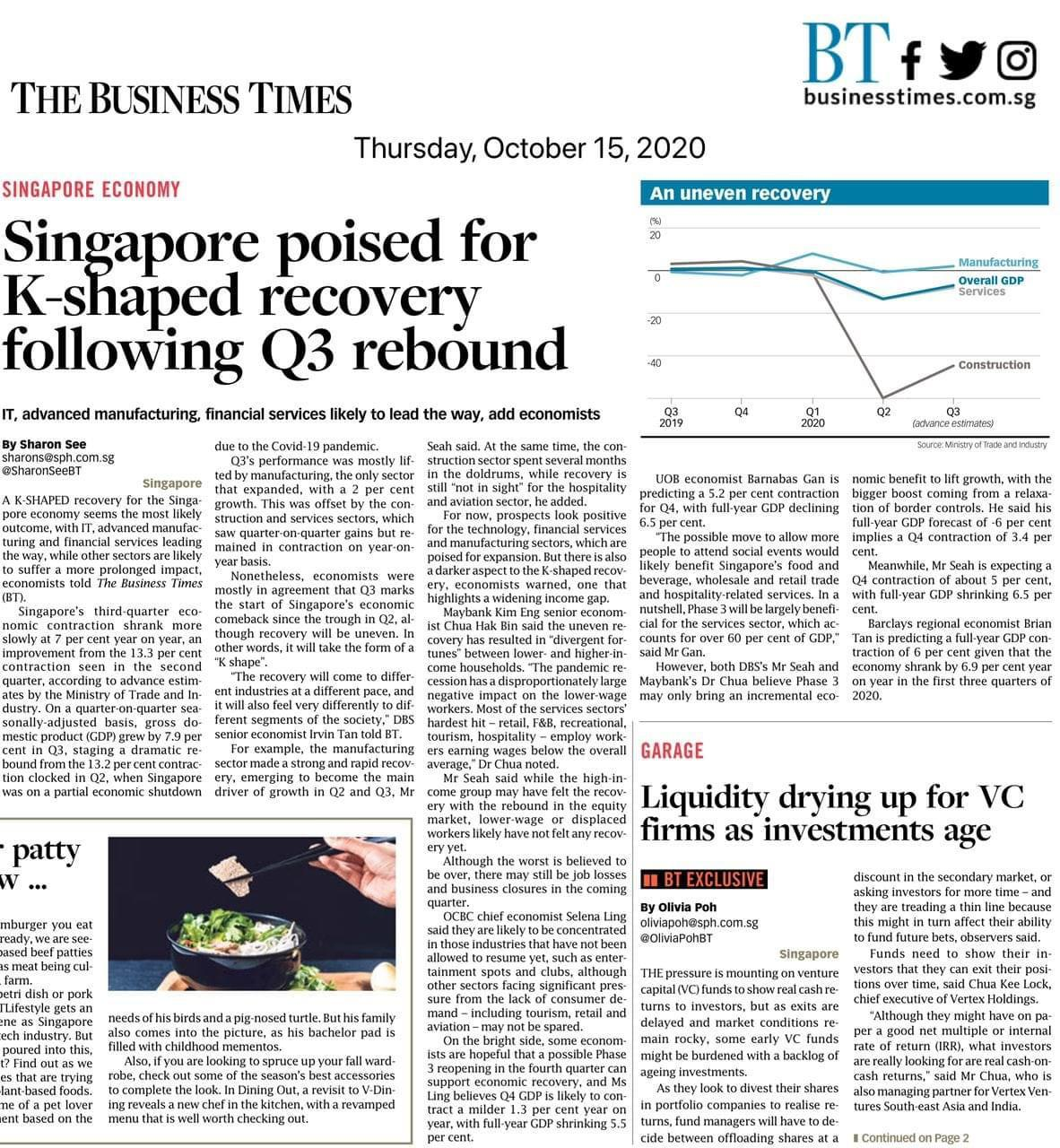 ingapore poised for K shaped recovery following Q3 rebound